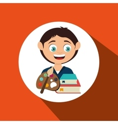 child with a palette of paints and books isolated vector image