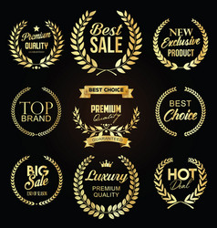 collection sale golden label with laurel vector image
