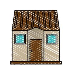 Color crayon stripe image facade comfortable house vector