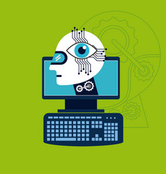 computer with head robot eye technology artificial vector image