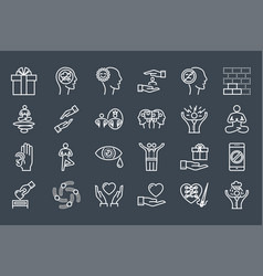 conscious living and friends relations icons set vector image