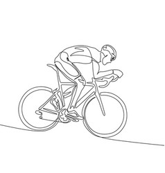 continuous one line cyclist in helmet riding a vector image