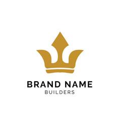 crown gold logo concept creative minimal design vector image