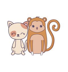 cute cat with monkey animals isolated icon vector image