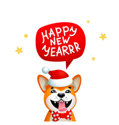 Cute dog with happy new year inscription smiling vector