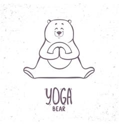 cute silhouette yoga bear vector image