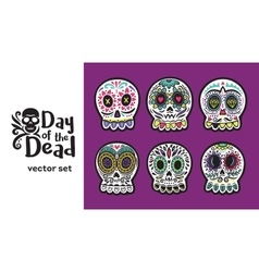 Day of the dead skulls colorful set vector