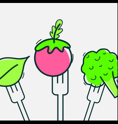 Delicious healthy vegetables with fork utensil vector