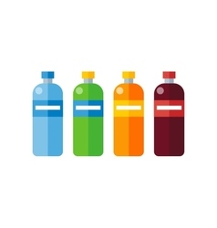 Different Colored Plastic Bottles vector image