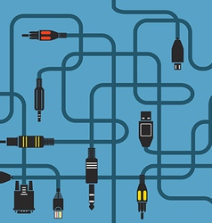 Different modern connection plugs and wires vector image