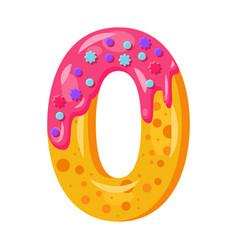 Donut cartoon zero number vector