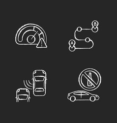 driving risks chalk white icons set on black vector image