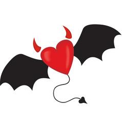 evil horned heart vector image