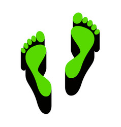 foot prints sign green 3d icon with black vector image