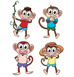Four giggling monkeys vector