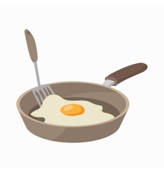 Frying pan with egg icon cartoon style vector
