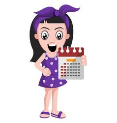 girl holding calendar on white background vector image