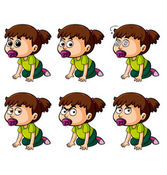 Girl toddler with different facial expressions vector