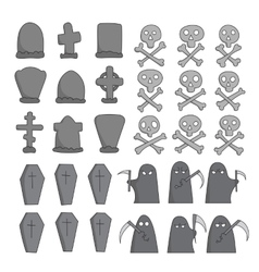 graveyard sketch collection vector image