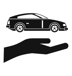 Hand and car icon simple style vector
