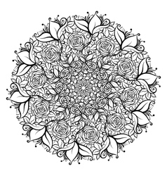 Hand drawn ornate rose flower in the crown of vector