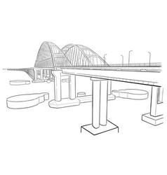Hand drawn sketch of crimean bridge vector