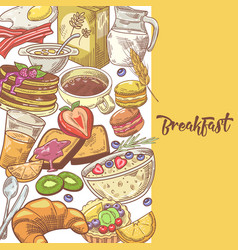 Healthy breakfast hand drawn design with milk vector