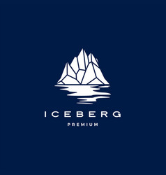 iceberg logo geometric on dark blue background vector image