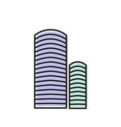 isolated blue color skyscraper in lineart style vector image