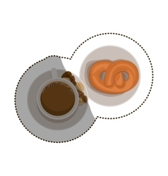 Isolated pretzel and coffee cup design vector