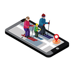Isometric happy family skiing searching for cross vector
