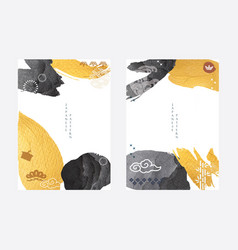 japanese template with brush stroke elements vector image