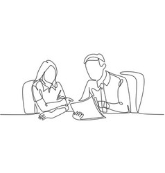 Job discussion concept one single line drawing vector