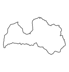 Latvia map of black contour curves of vector