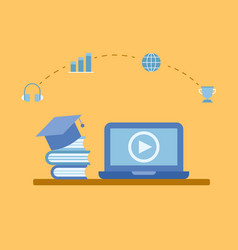 learning online course in laptop vector image