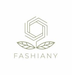 Line flower fashion logo design vector