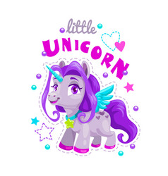 little cute cartoon unicorn label sweet pony vector image