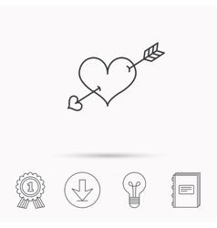 Love heart icon Amour arrow sign vector