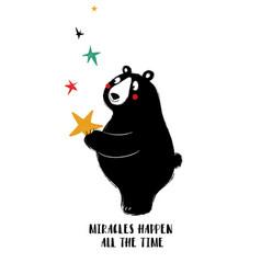 Lovely black bear holding star vector