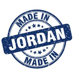 Made in jordan blue grunge round stamp vector