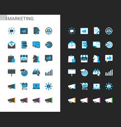 Marketing icons light and dark theme vector