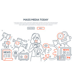 mass media today - modern line design style vector image