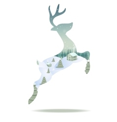 Merry Christmas card with christmas deer vector image