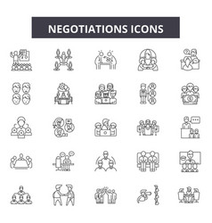 Negotiations line icons signs set vector
