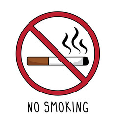 no smoking symbol sign doodle hand drawing vector image
