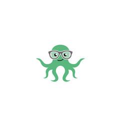 Octopus smiling and wearing glasses geek squid vector