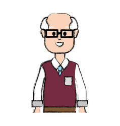 Old man with glasses and casual choth vector