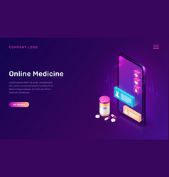 online medicine mobile app isometric concept vector image