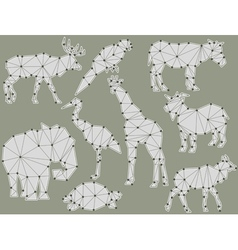 origami animal silhouettes vector image