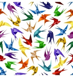 Origami paper swallows seamless pattern vector image